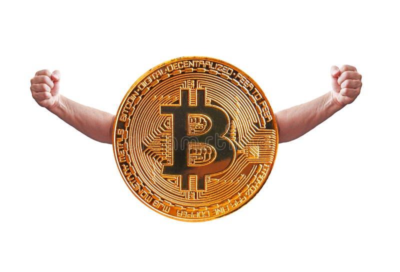 Bitcoin do homem forte fotografia de stock