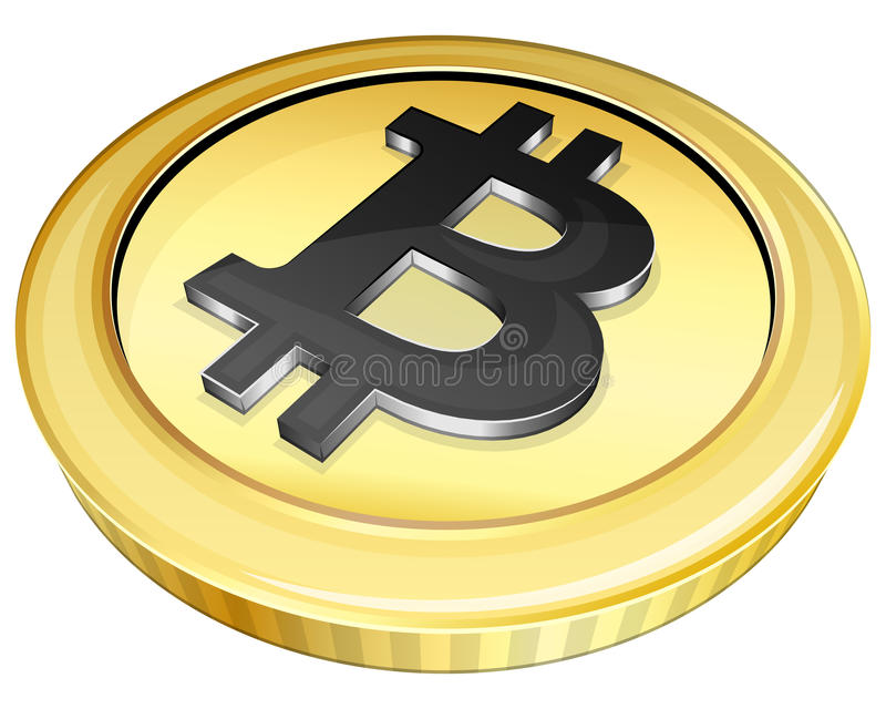 Bitcoin do ouro ilustração royalty free