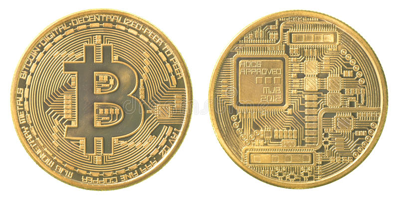 Bitcoin do ouro fotografia de stock