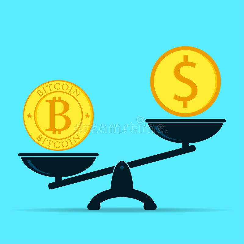 Bitcoin and dollar on scales. Crypto currency outweighs money. Flat design of business vector. royalty free illustration
