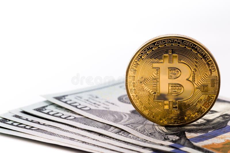 Bitcoin and dollars royalty free stock image