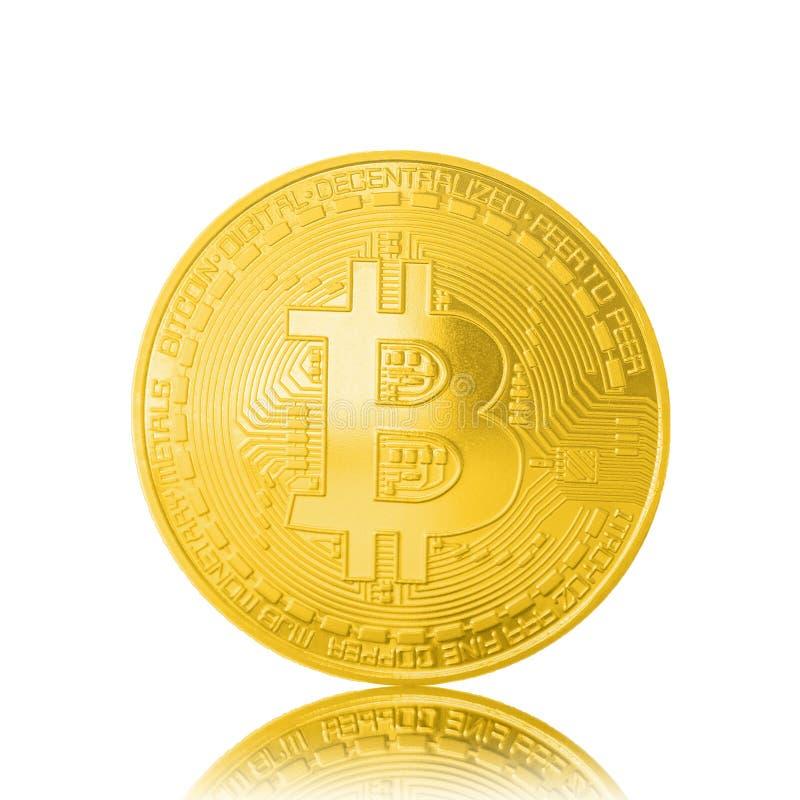 Bitcoin dorato isolato su fondo bianco fotografia stock
