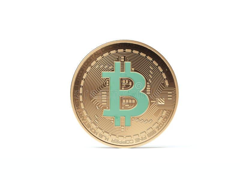 Bitcoin dourado com esmeralda rendição 3d ilustração royalty free