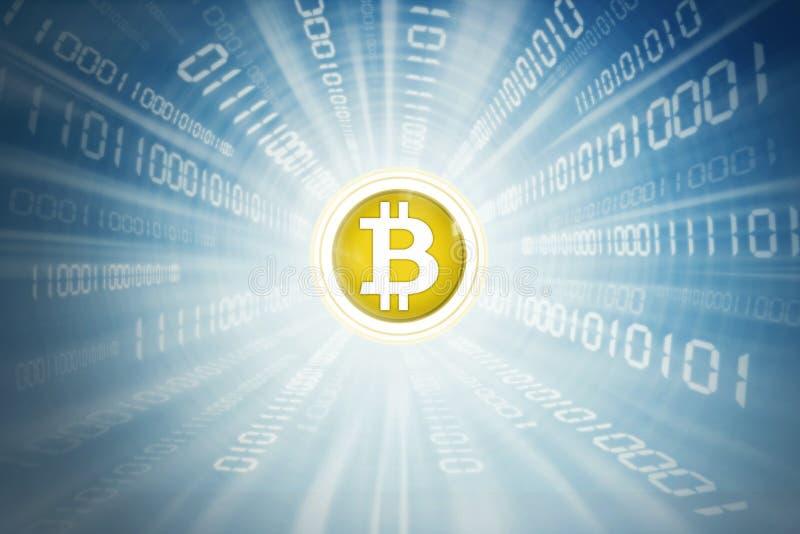 Bitcoin dourado dentro do código binário ilustração do vetor