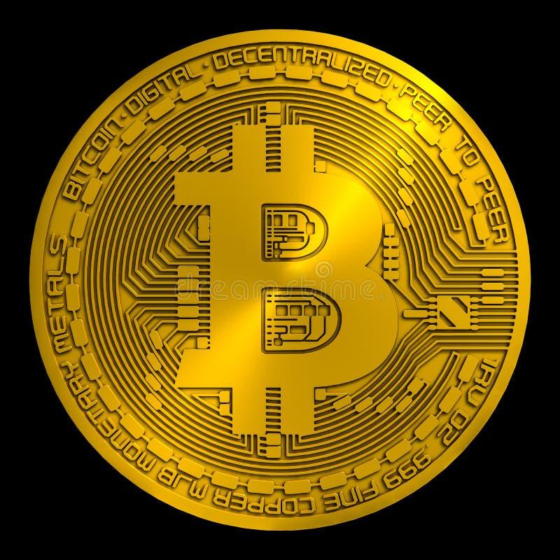 Bitcoin dourado rendido ilustração do vetor
