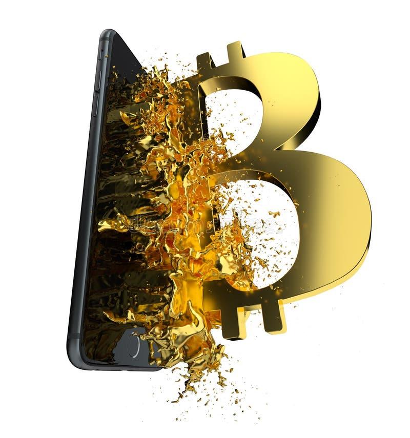 Bitcoin dourado Trajeto incluído Aperfeiçoe para ilustração stock