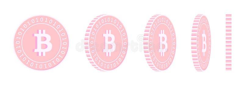 Bitcoin, drehende M?nzen Satz, Ani der Internet-W?hrung stock abbildung