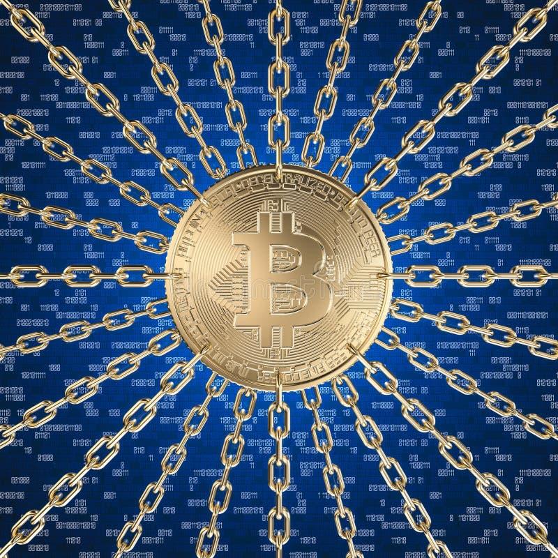 Bitcoin e blockchain illustrazione di stock