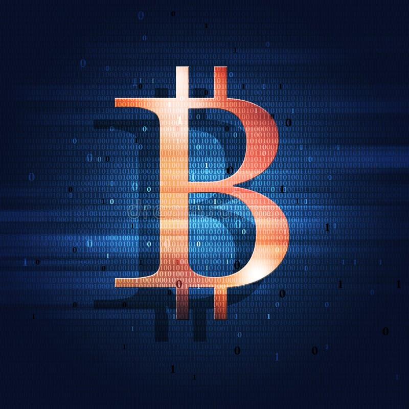 Bitcoin e código binário ilustração royalty free