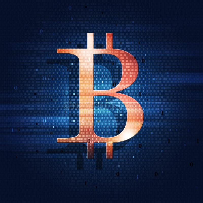 Bitcoin e codice binario royalty illustrazione gratis