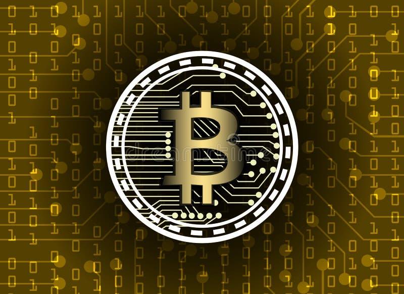 Bitcoin e conexão de rede do blockchain, coligação política de moeda virtual ilustração royalty free
