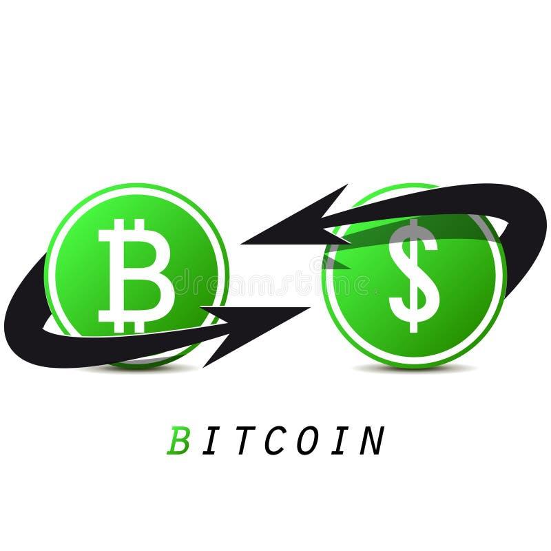 Bitcoin e dollaro su fondo bianco Cambio per il vostro progetto di affari Bitcoin nero e verde Illustrazione di vettore illustrazione vettoriale