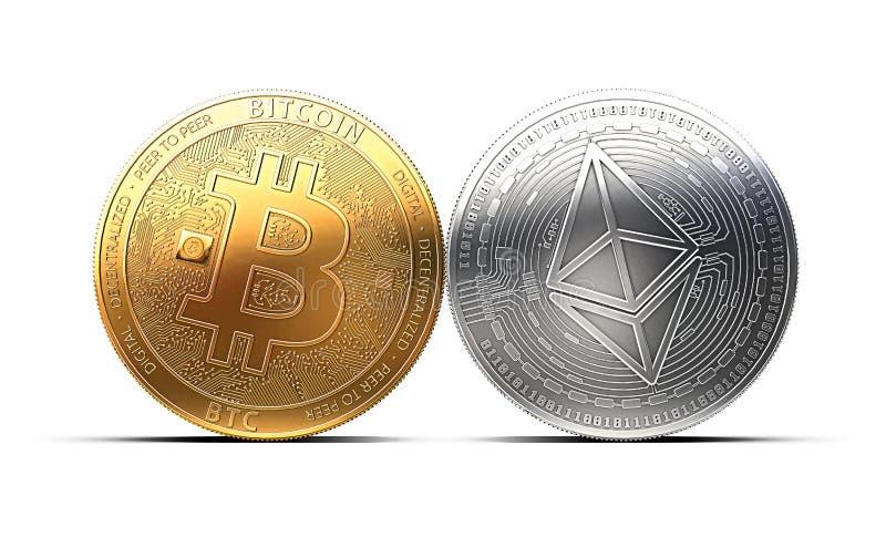 Bitcoin e Ethereum lutam pela liderança isolados no fundo branco ilustração do vetor