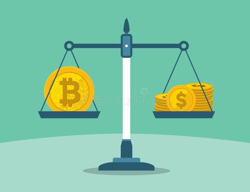 Bitcoin e la pila di dollaro conia sulla scala dell'equilibrio illustrazione di stock