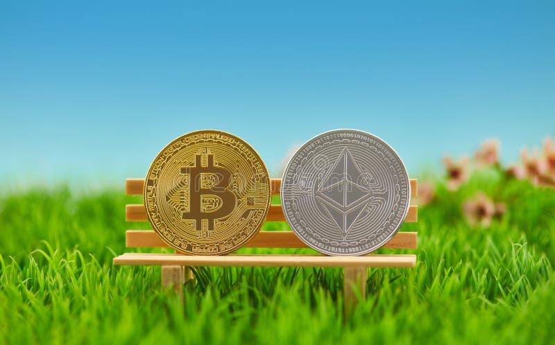 Bitcoin e moneta dell'etere sulla banca in natura fotografie stock