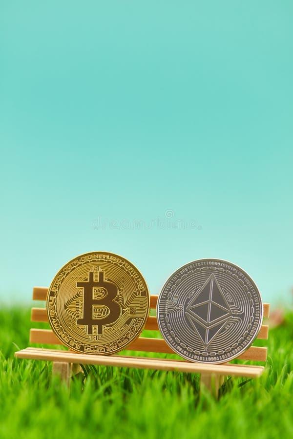 Bitcoin e monete dell'etere sul banco nel giardino fotografia stock libera da diritti
