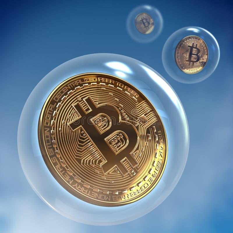 Bitcoin in een bel het 3d teruggeven stock foto