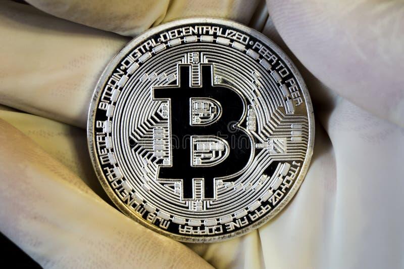 Bitcoin is een moderne manier van uitwisseling en deze crypto munt stock fotografie