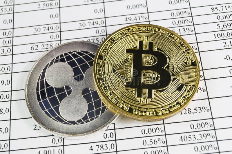 Bitcoin is een moderne manier van uitwisseling en deze crypto munt royalty-vrije stock afbeeldingen