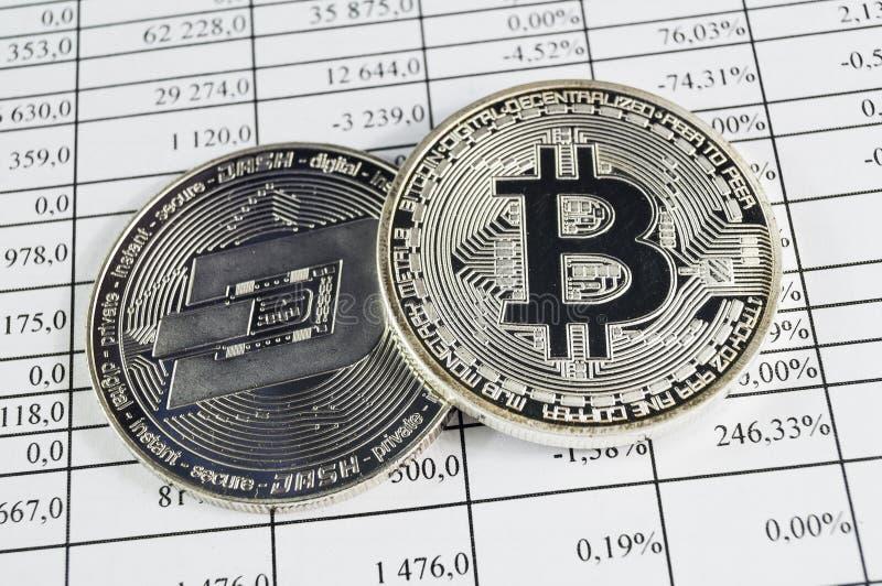 Bitcoin is een moderne manier van uitwisseling en deze crypto munt royalty-vrije stock fotografie