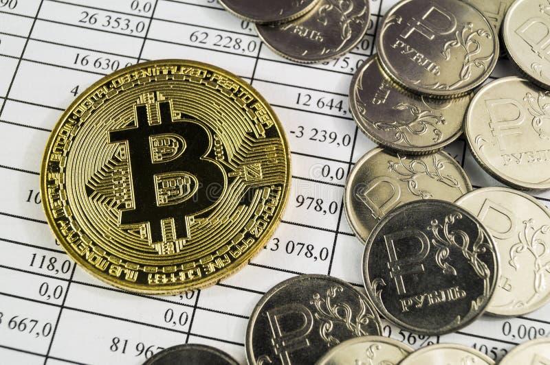 Bitcoin is een moderne manier van uitwisseling en deze crypto munt stock afbeeldingen