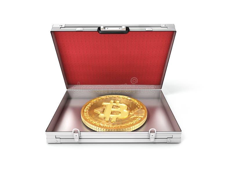 Bitcoin in einem offenen Koffer lizenzfreie abbildung