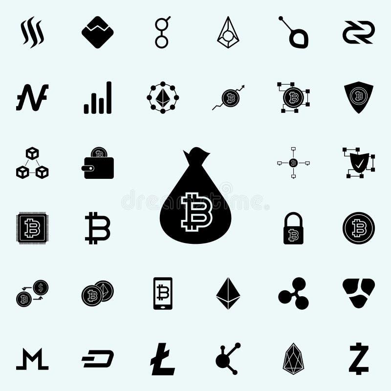 bitcoin in einer Taschenikone Schlüsselwährungsikonen-Universalsatz für Netz und Mobile lizenzfreie abbildung