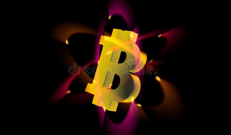 Bitcoin electron. The cryptocurrency Bitcoin logo around the electrons circling in orbits stock illustration