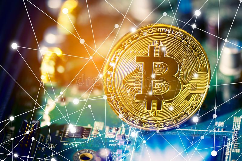 Bitcoin on electronic circuit board. Cryptography and Electronic money concept. Currency trading and Gold mining theme. Business. And Technology theme. Network royalty free stock photography
