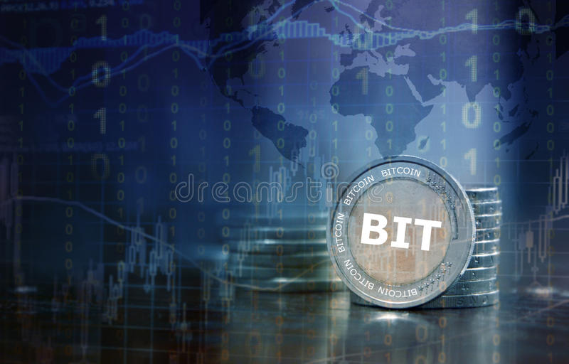 Bitcoin. Electronic currency financial concept
