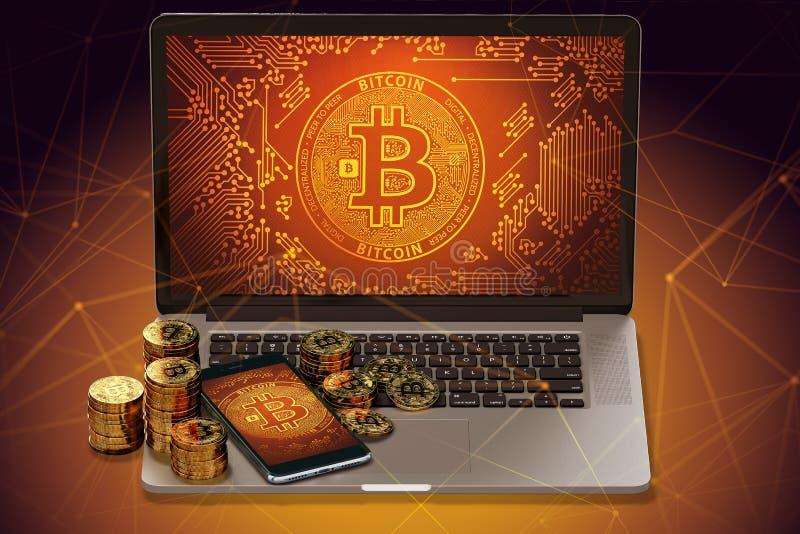 Bitcoin empile la pose sur l'ordinateur portable avec le logo de Bitcoin à l'écran et les noeuds de blockchain tout autour illustration stock