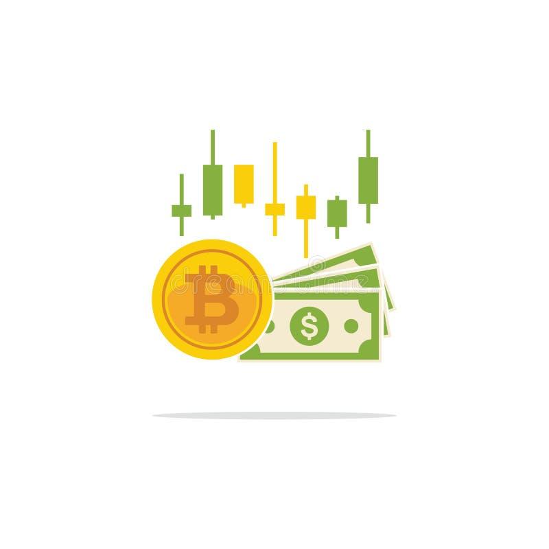 Bitcoin en bankbiljetten van dollars in vlakke stijl Beurs B royalty-vrije illustratie