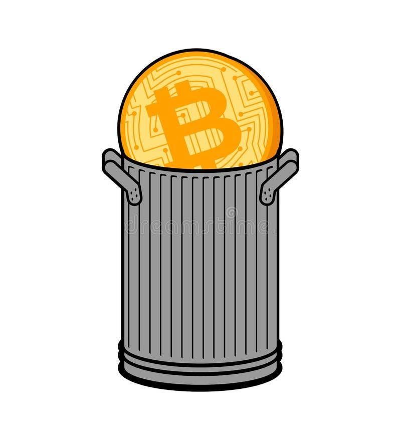 Bitcoin en bote de basura Caída de precios de la moneda El precio de Cryptocurrency retrocede Concepto del negocio en intercambio libre illustration