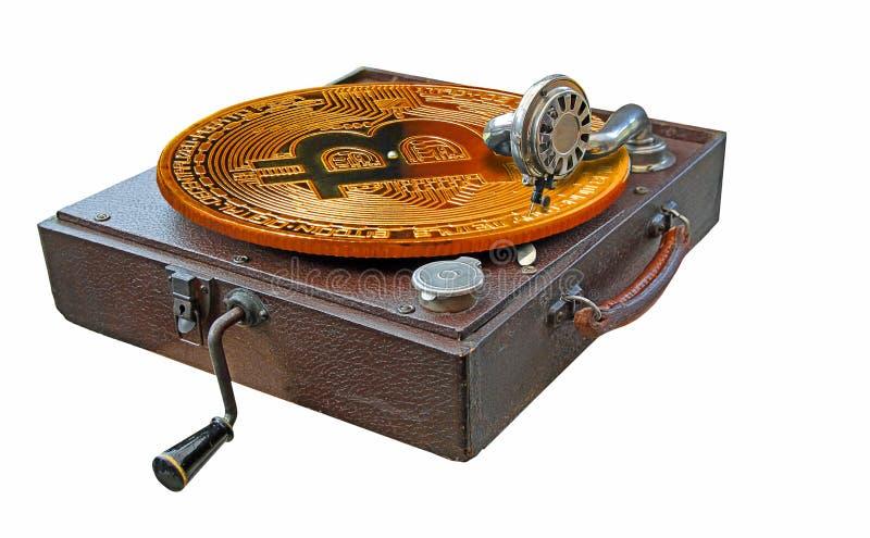 Bitcoin en el fonógrafo del vintage imagenes de archivo