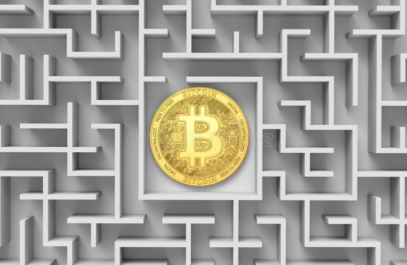 Bitcoin en el laberinto oscuro y la llamarada brillante del sol como muestra de la prosperidad Es Bitcoin perdió diseño conceptua ilustración del vector