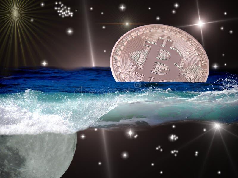 Bitcoin en el océano del espacio libre illustration