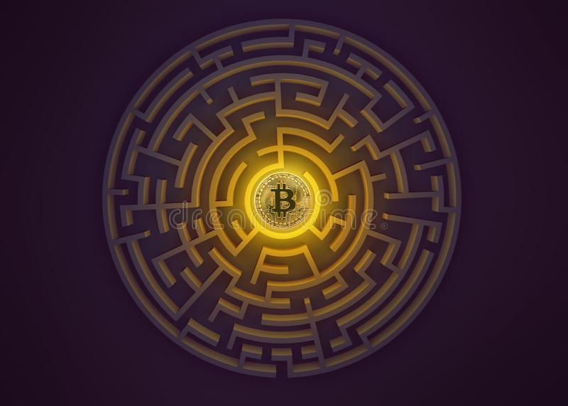 Bitcoin en el punto central de la opinión del laberinto desde arriba ilustración del vector