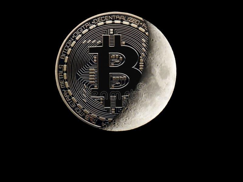 Bitcoin en espacio imagen de archivo libre de regalías