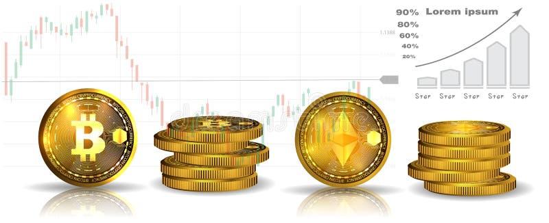Bitcoin en ethereum 3D isometrische Fysieke muntstukken Digitale munt Cryptocurrency Gouden en zilveren muntstukken met bitcoin e vector illustratie