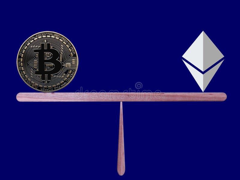 Bitcoin en Ethereum in evenwicht stock afbeelding