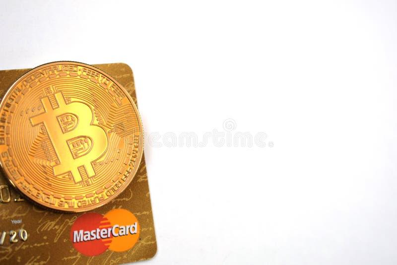 Bitcoin en Mastercard stock afbeeldingen