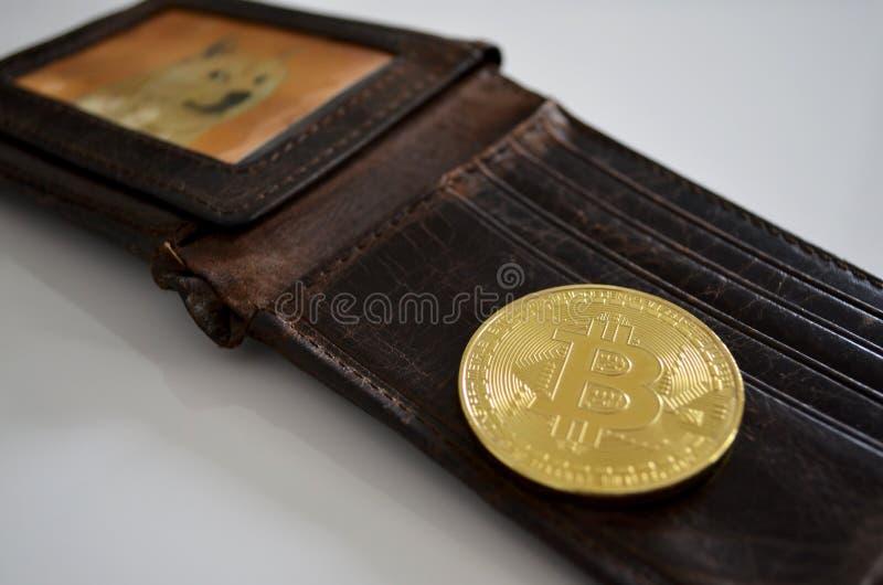 Bitcoin en portefeuille met de foto van de Dogehond royalty-vrije stock afbeelding