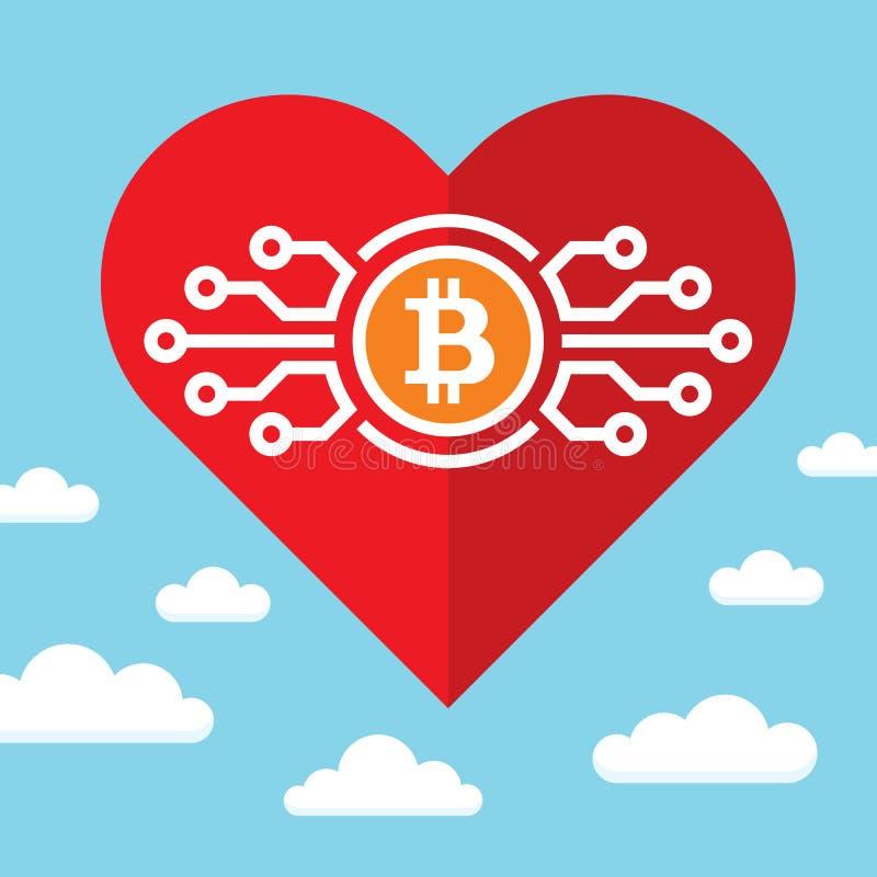 Bitcoin en rood hart op blauwe hemel met wolken - vectorconceptenillustratie in vlakke stijl Abstracte elektronische digitale cry vector illustratie