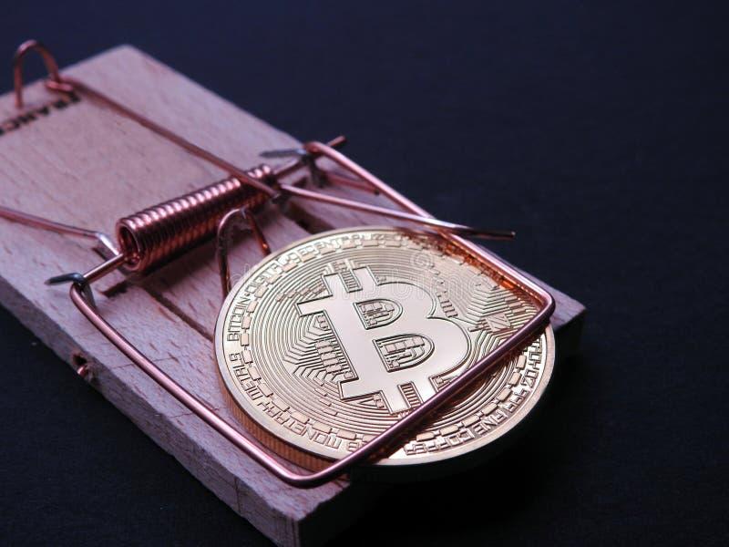 Bitcoin en trampa del ratón fotos de archivo libres de regalías