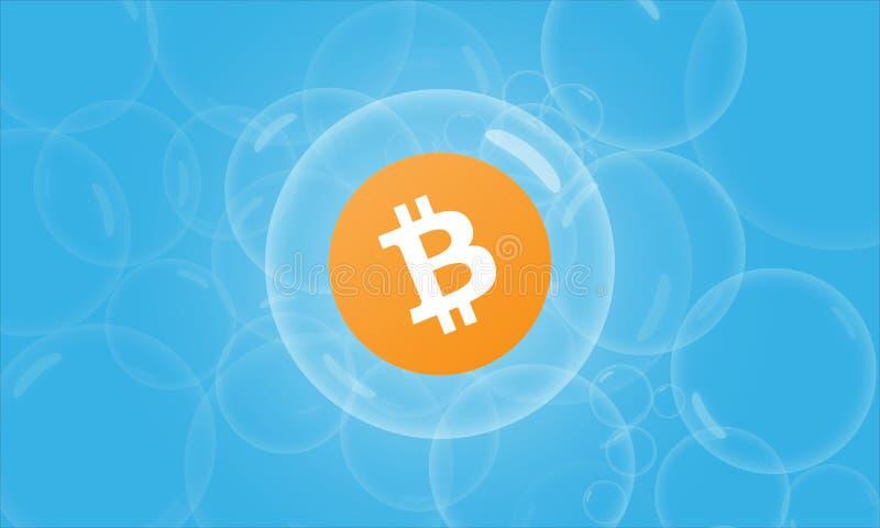 Bitcoin en un concepto del fondo de la burbuja ilustración del vector