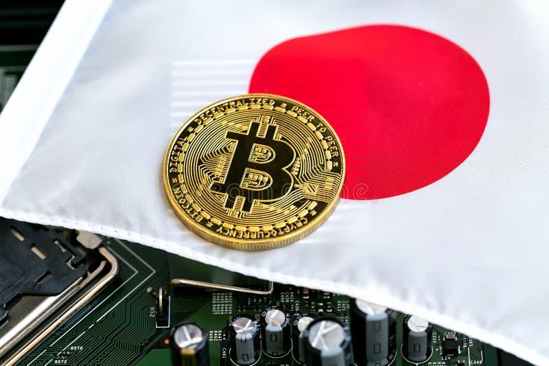 Bitcoin en una bandera japonesa foto de archivo libre de regalías