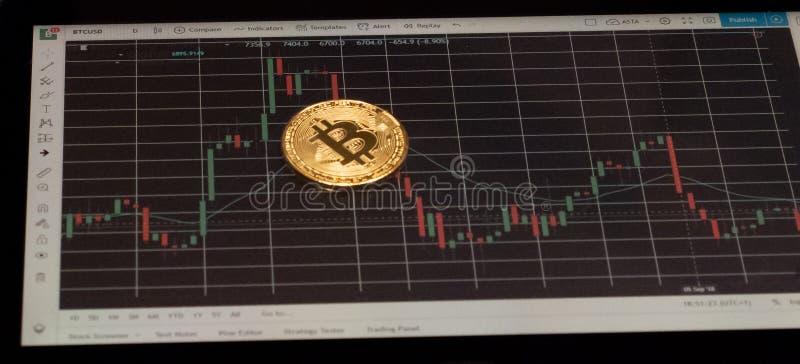 Bitcoin en una carta del precio fotos de archivo libres de regalías