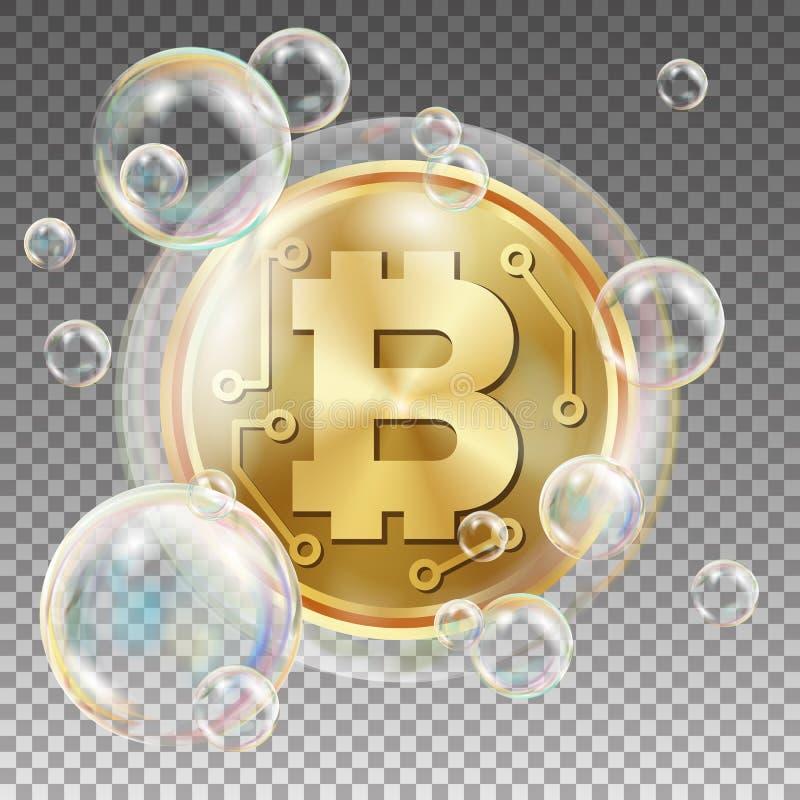 Bitcoin en vector de la burbuja de jabón Riesgo de inversión Hundimiento de la moneda Crypto Caídas de precios de Bitcoin Dinero  stock de ilustración