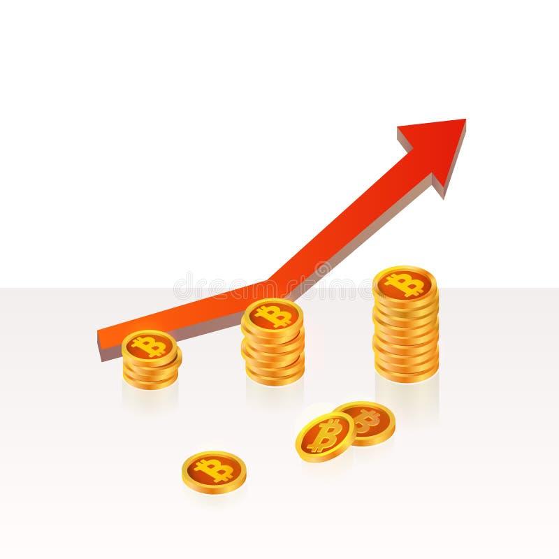 Bitcoin encima del concepto del crecimiento Ejemplo de los ingresos de Bitcoin libre illustration