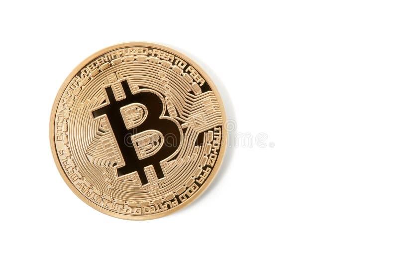 Bitcoin enkelt guld- på vit med tomt utrymme arkivbild